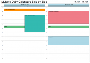 Multiple Daily Calendars side by side