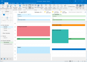 Outlook multiple calendars side by side