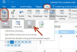 Calendar List View