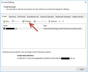 Change Outlook account settings
