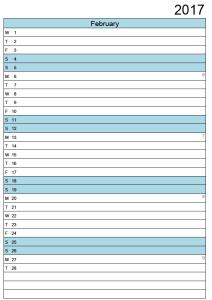 February calendar 2017