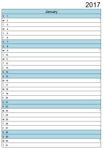 January Calendar 2017