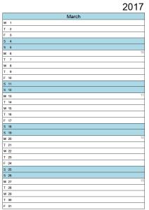 March Calendar 2017