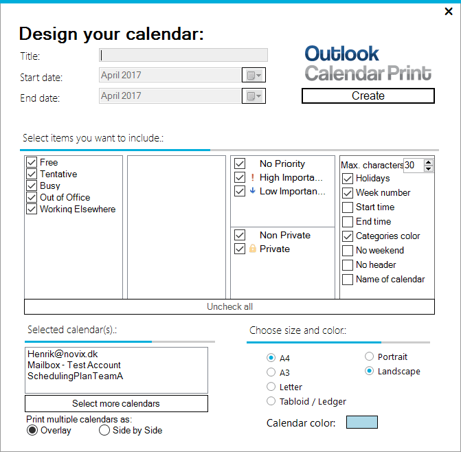 Printable Customized Calendar Directly From Outlook
